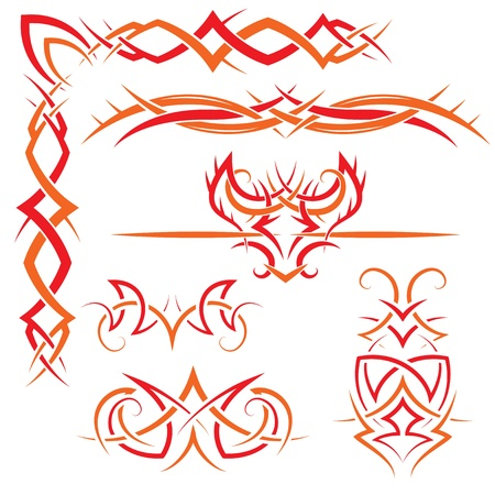 vector set of gothic patterns for design  Red and orange Vector