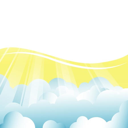 vector background with clouds and sun rays Vector