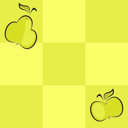 seamless checkered background with apple and pear Stock Vector - 19666319