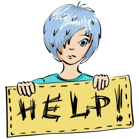 miserable: Vector illustration. A child holds a placard with inscription Help Illustration