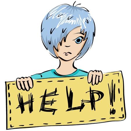 perişan: Vector illustration. Bir çocuk yazıt Yardım ile bir pankart tutan