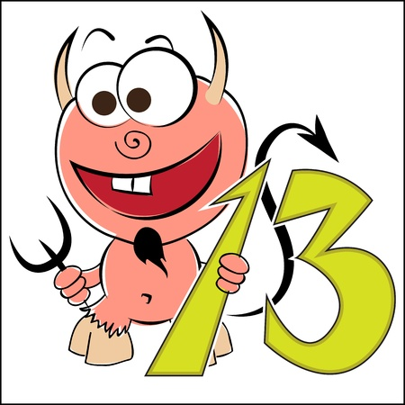 thirteen: Cheerful devil with the number thirteen on a white background Illustration