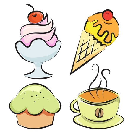 Set of four items. Desserts and coffee. Vector illustration Vector