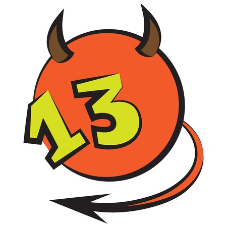 thirteen: devilish ball with horns, tail, and a number thirteen
