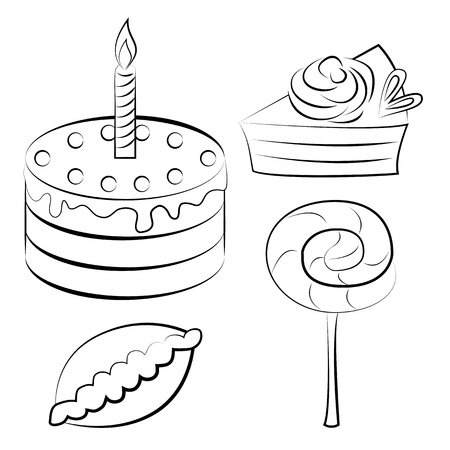 Vector illustration. A set of sweets style sketch Vector