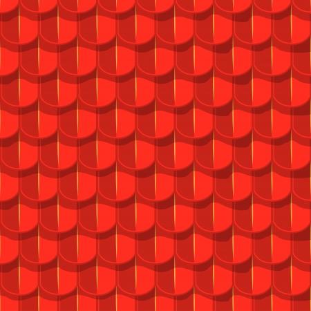 tile roof: Vector background senza soluzione di continuit�. Tetto di mattonelle rosse con paralume