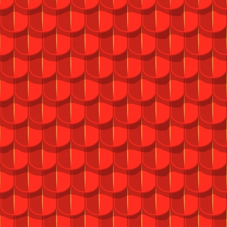 Vector seamless background. Red tile roof with shade Vector