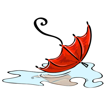 Vector illustration. Red umbrella fallen into a puddle Stock Vector - 22637733