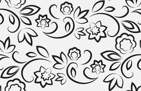 Seamless floral pattern. Black on a light gray background Vector