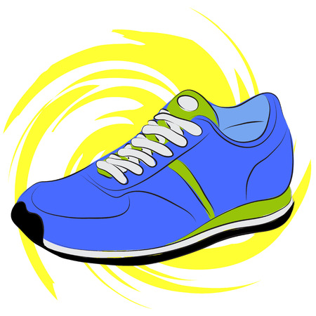 Vector illustration. Blue running shoes on a yellow abstract background Vector