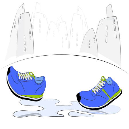 puddles: Sneakers walking through puddles in the city. Vector illustration