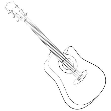 colourless: Guitarra ac�stica. Ilustraci�n vectorial incoloro. estilo de dibujo