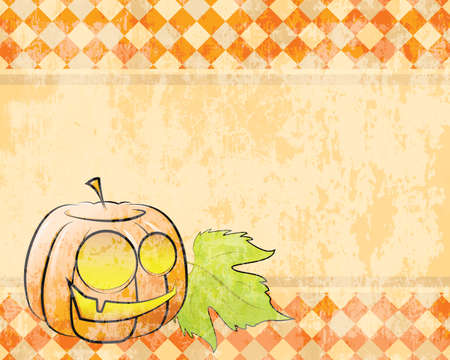 Vector retro checkered background pumpkin decorating for Halloween Vector