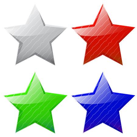 estrellas cinco puntas: conjunto de vectores de brillantes estrellas de cinco puntas de diferentes colores