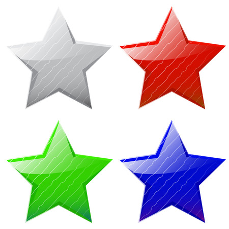 set of vector glossy five-pointed stars of different colors