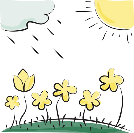 Nature. Vector flowers, sun and cloud. Imitation of children's drawings Vector