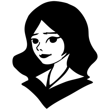 simple girl: black-and-white portrait of a pretty girl. Simple vector drawing Illustration
