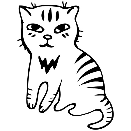 Vector illustration. Tabby cat. Black outline sketch Vector