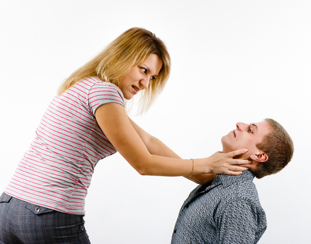 young woman fighting with a man. family quarrel