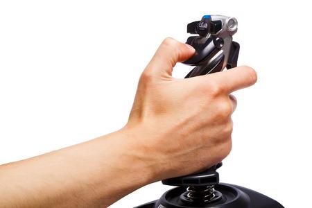 simulator: hand joystick control flight simulator on a white background Stock Photo