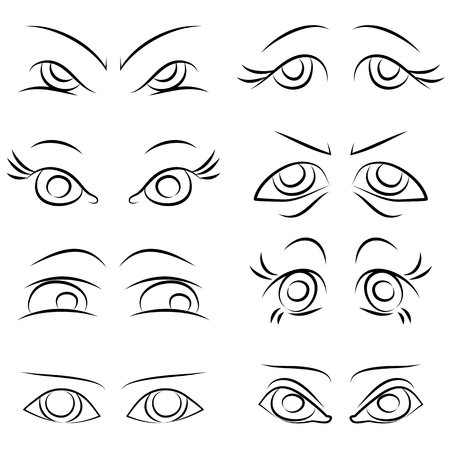 sleepy woman: emotions. Set of several pairs of eyes. vector