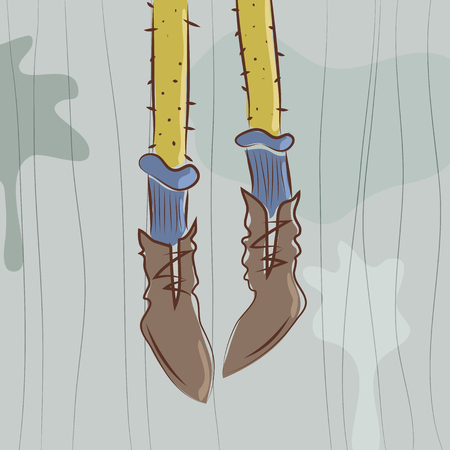 Vector illustration. Dangling feet in shoes and socks Illustration