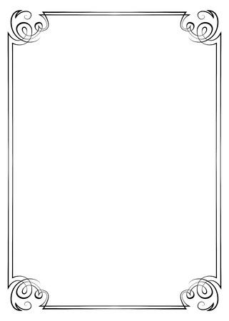 multilayer: Marco de la vendimia, vertical, vector de varias capas con remolinos