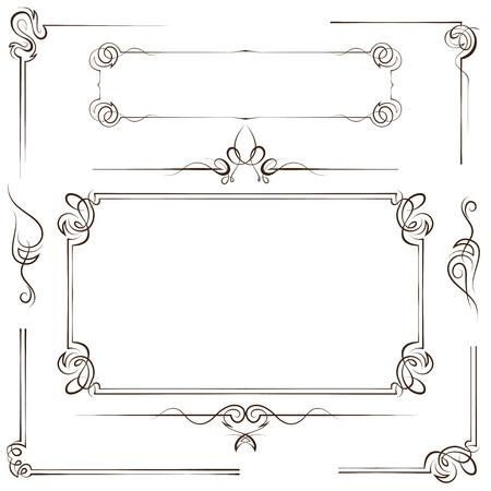 Vintage multilayer set vector frame and border with swirls