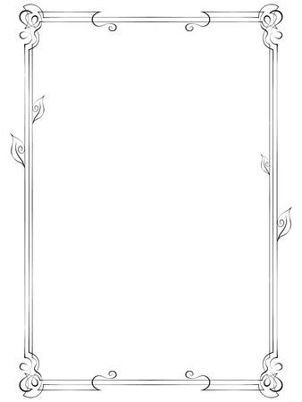 multilayer: Vintage multilayer vertical vector frame with swirls