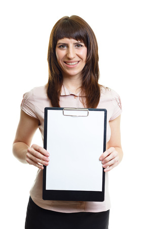 Smiling confident attractive girl with a folder on a white background photo
