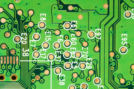 green microcircuit closeup. Technology abstract background. hard disk photo
