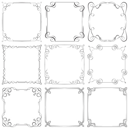 Set of nine different vector decorative frames Vector