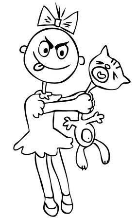 violencia familiar: Ilustraci�n del vector. La crueldad de los ni�os. Ni�a torturar a un gato. humor Vectores