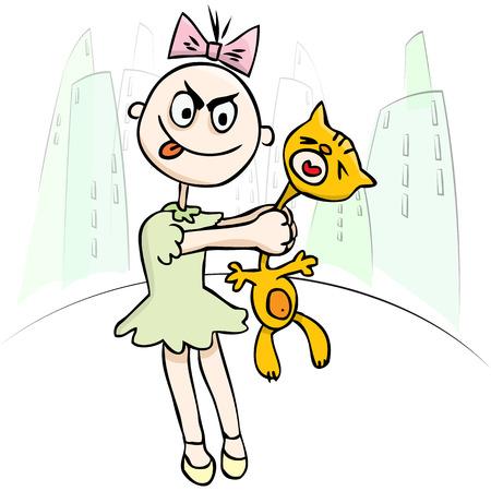 maltrato infantil: Ilustraci�n del vector. La crueldad de los ni�os. Ni�a torturar a un gato. humor Vectores