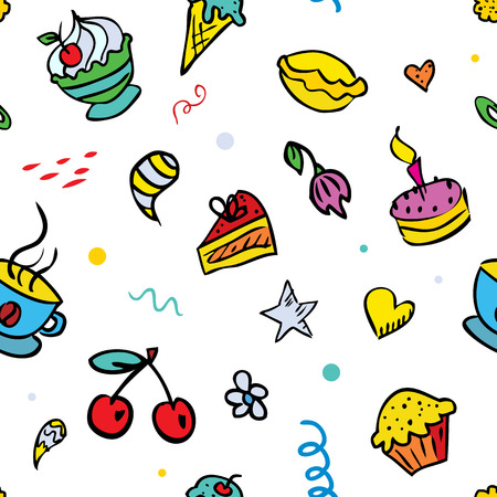 Vector seamless background for children with sweets Vector
