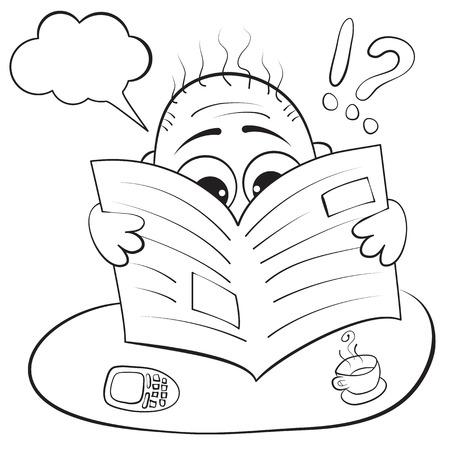 Vector illustration. Man reading a newspaper. caricature portrait Vector