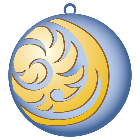 year curve: Christmas vector. Decorating for Christmas trees. Blue ball with pattern Illustration