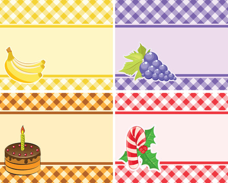 set of vector checkered backgrounds frames of different colors. theme - Fruits and holidays Vector