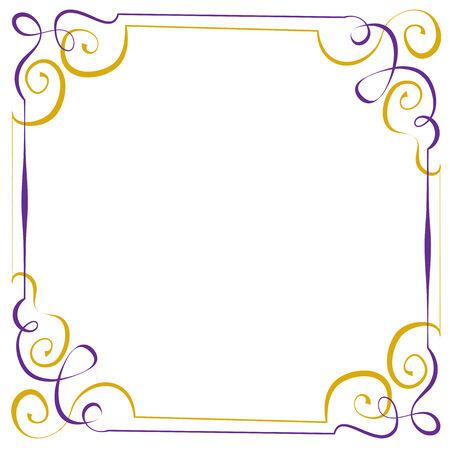 multilayer: Multilayer vector violet yellow elegant square frame Illustration