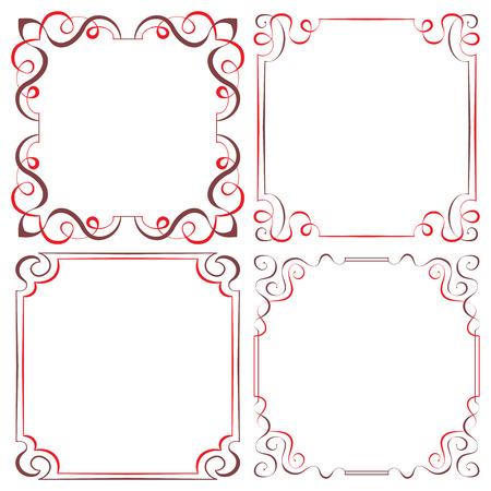 Set of four vector elegant two-color multilayer frames for design Vector