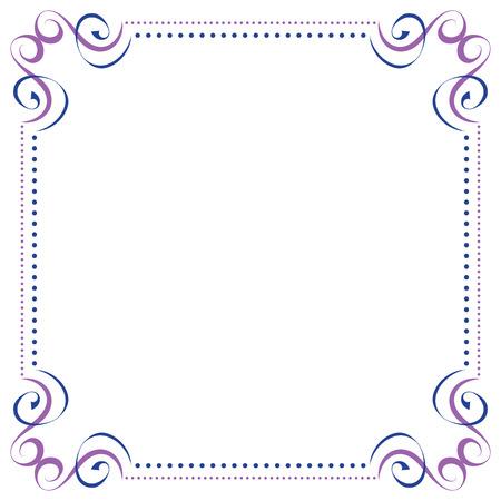 Multilayer vector violet blue elegant square frame