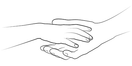 child's: Mans hand holding a childs palm. Vector monochrome drawing Illustration