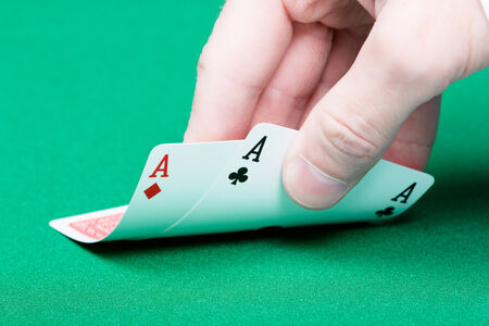 card player: card player. Male hand with cards close-up Stock Photo