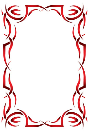 Gothic vector vertical frame on a white background. Red and black Tribal Vector