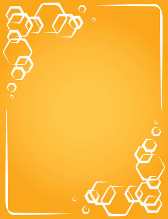Creative vector frame on yellow background. honeycomb Vector