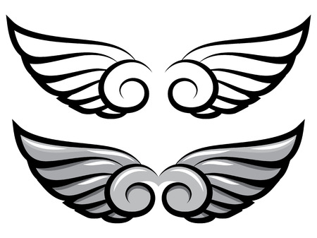 vector set. two pairs of wings. Black and colored Vector