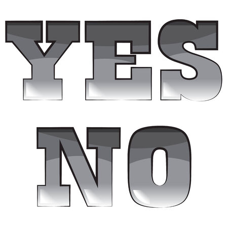 Vector black and white illustration. Set of words yes and no Vector
