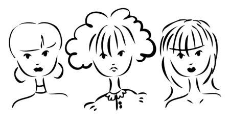 Vector set of portraits of women. Simple drawing hands Vector