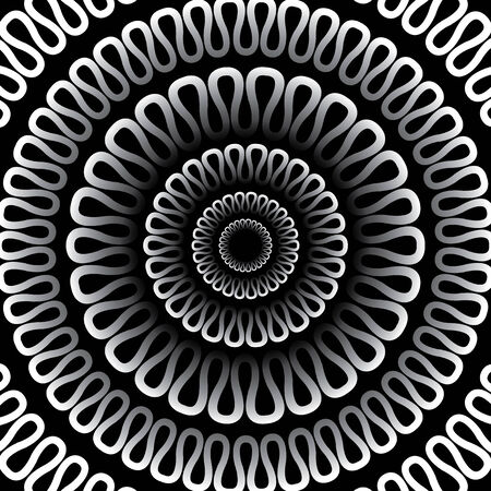 ripple effect: Vector abstract background. Radial pattern on a black background