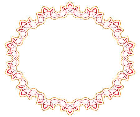 Openwork red orange vector frame. Oval vignette for design Vector